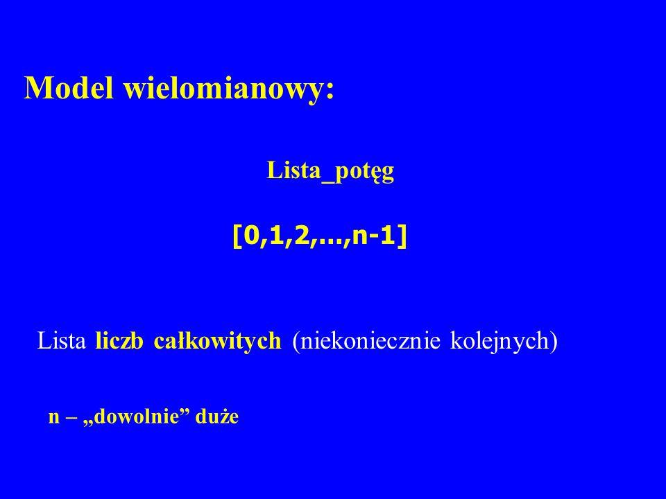 Model wielomianowy: Lista_potęg [0,1,2,...,n-1]